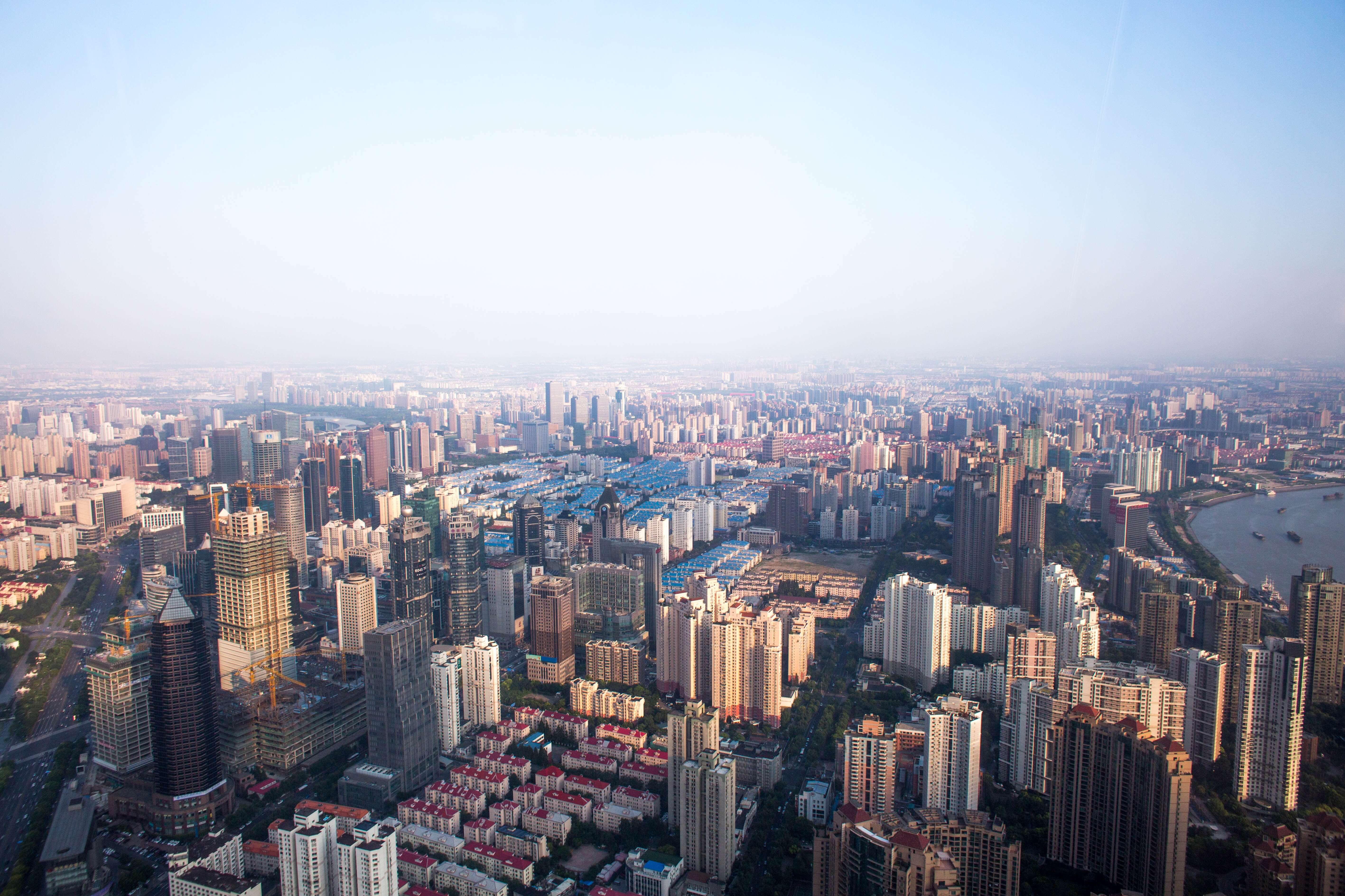 Luftbild einer Großstadt in China